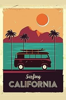 Surfing California Coastline Vintage Van Palm Trees Cool Wall Decor Art Print Poster 24x36