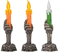 OSALADI 3pcs Halloween Candle Lamp Ghost Hand Halloween Skull Candle Holder Light LED Skull Glowing Candle Holder Light De...
