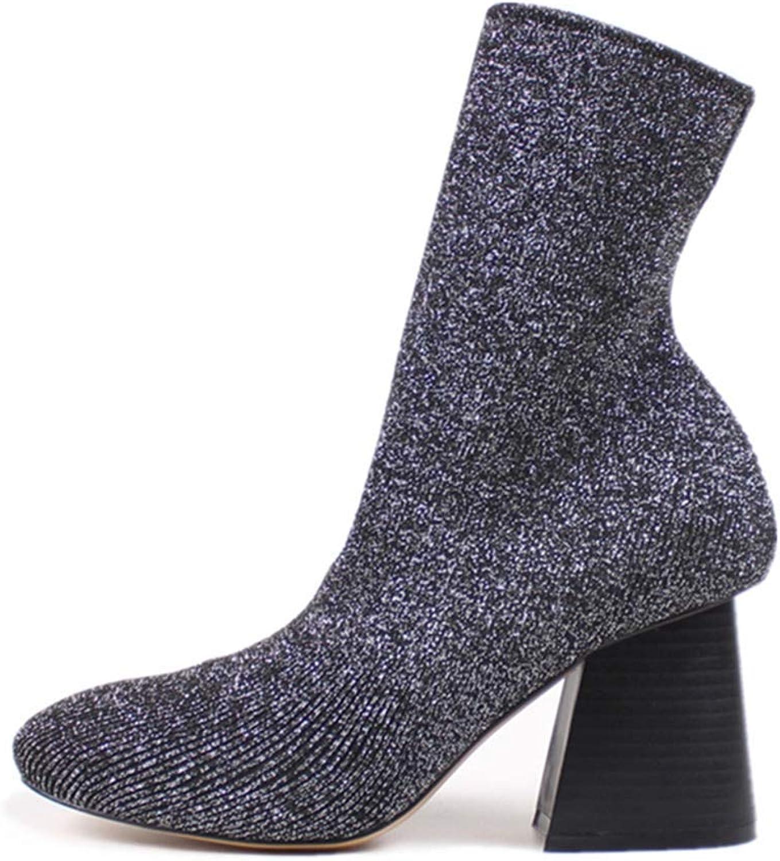 Webb Perkin Women Block High Heel Knitting Elastic Sock shoes Stretch Sexy Dress Boot Lady Mid Calf Boots