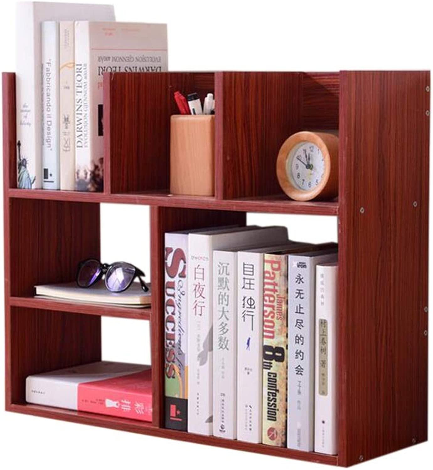 JCAFA Shelves Desktop Bookshelf Book Display Stand DYI Assembly Student Use Wooden Display Stand Home Decoration, 23.62  7.84  19.68in (color   Mahogany color)