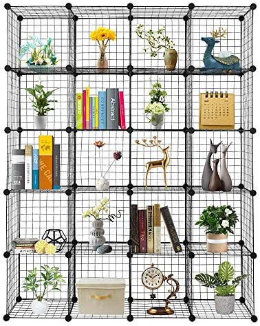 VINGLI Wire Cube Storage 20 Cube Organizer Metal Grids Shelves Stackable Storage Bins Multifunction product image