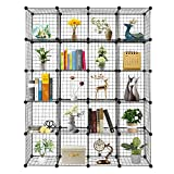 VINGLI Wire Cube Storage, 20-Cube Organizer Metal Grids Shelves, Stackable Storage Bins Multifunction Shelving Unit Modular Cubbies Organizer Bookcase for Home Office (20-Cube)