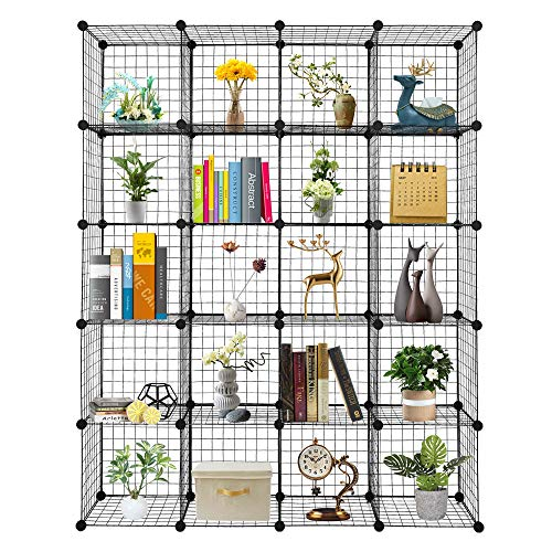 C&AHOME Cube Storage, 9-Cube Bookshelf, Plastic Closet Cabinet Organizer, DIY Stackable Bookcase, Modular Shelving Units Ideal for Home, Office, Kids Room, 36.6