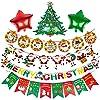 FEE-ZCメリークリスマスバンティングバナーハンギングクリスマスツリー赤緑スターホイルバルーン雪だるまサンタクロースのトナカイすべてのお祝いのテーマの装飾セット