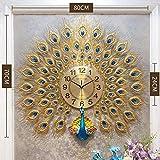LXYZ Reloj de Pared de Pavo Real de Estilo Europeo, Reloj Creativo de Cristal silencioso Que no Hace tictac, Marco de Metal para Sala de Estar, F, 70x80cm