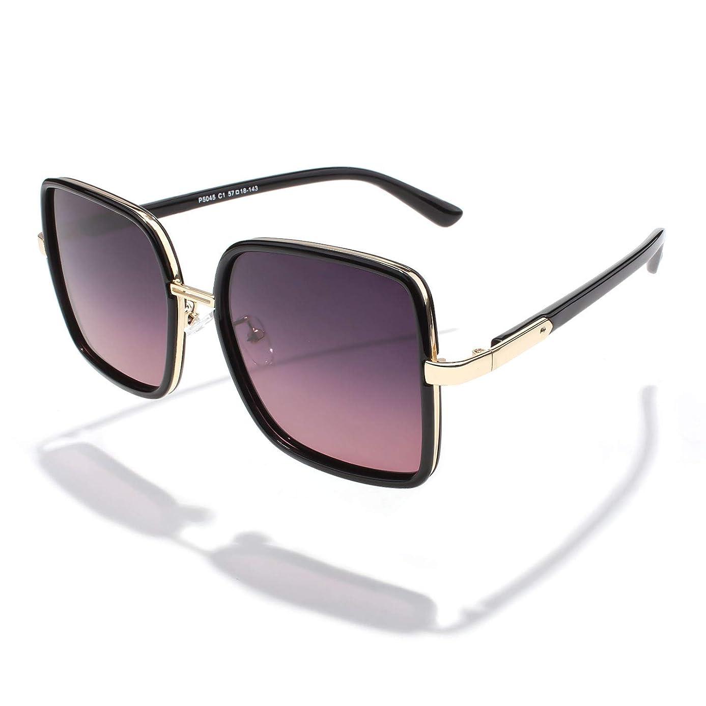 LINVO Square Frame Oversized Polarized Sunglasses for Women Brand Designer Inspired,FZ45