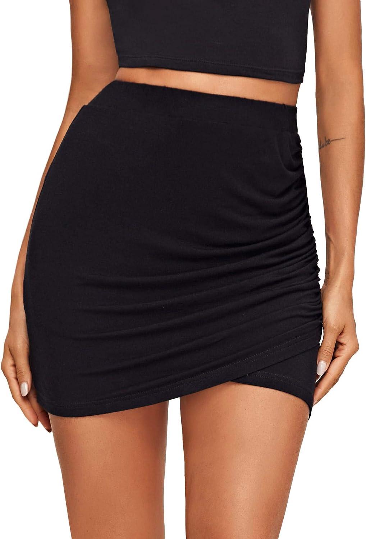 LYANER Women's Ruched Wrap Front Elastic High Waist Bodycon Mini Short Skirt