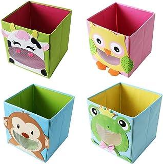 4 pièces te-trend tissu Boîte Pliante Coffret de jeux Motifs d'animaux Frosch Singe CHOUETTE VACHE rangement coffre pour j...