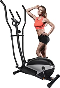 Dpforest Elliptical Exercise Machine for Home Use - Magnetic Elliptical Cross Trainer with LCD Monitor and Pulse Sensors,8 Resistance Levels for Indoor Gym Workout