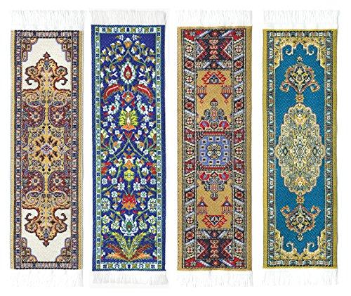 Oriental tappeto segnalibri # 3–Autentico tappeto intrecciato (set da 4)