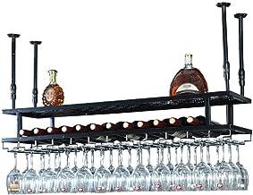 HTTJJ Double Layer Wine Rack Vintage Storage Rack Wall Mount For Mug   Wall Wine Bottle Rack Made Of Metal Ceiling Wine Ra...