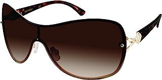 Southpole Women's 451sp-gldts 451SP GLDTS Shield Sunglasses, Gold/ Tortoise, 55 mm