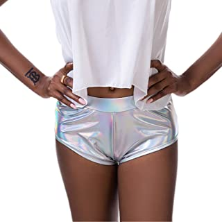 Revolver Fashion//Funstigators Festival Clothing Athletic Fit with Gusset /& Pocket Womens Holographic Booty Shorts