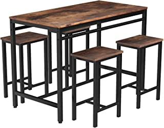 MIERES Dining Table Set for 4 Metal Legs Stools Kitchen...