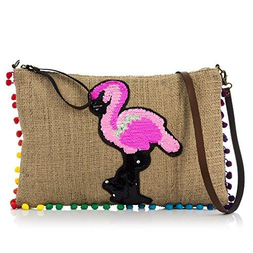 Firenze ARTEGIANIWoman's zakje met pailletten patroon aan de voorkant. Zij-Ornamenten Handtas. Schoudertas. 38 x 26 x 4 cm. Kleur: bruin gestempeld