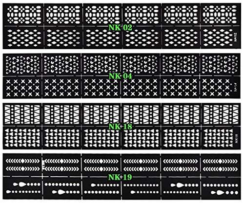 NOVAGO 4 planches de stickers pochoir pour ongles, assortiment varié, utilisation facile