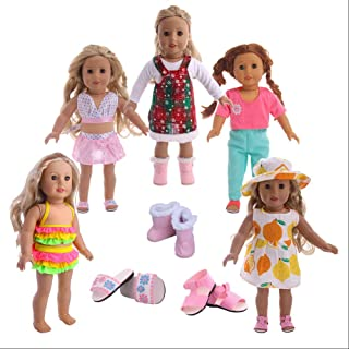 Luckdoll 5 Sets Clothes(Handmade Casual Oufits) +2Pcs Shoes(Boots+ Sandals / Slippers) for 18inch American Girl Dolls for Children