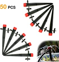 Korty 50 Pieces Adjustable Irrigation Drippers, 360 Degree Water Flow Drip Irrigation System,Drip Emitters Perfect for 4/7mm Tube (Double barbs)
