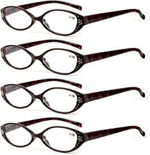 Qi Song 4 Pairs Cateye Women Reading Glasses Fashion Readers qs817