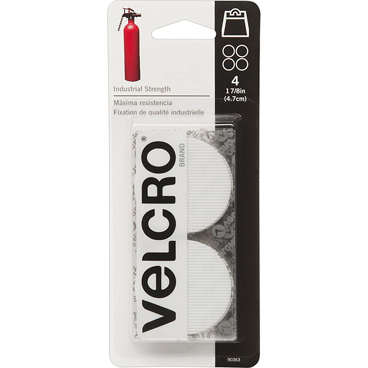 VELCRO Brand 90363 Industrial Fasteners Stick-On Adhesive   Professional Grade Heavy Duty Strength   Indoor Outdoor Use, 1 7/8in, Circles 4 Sets