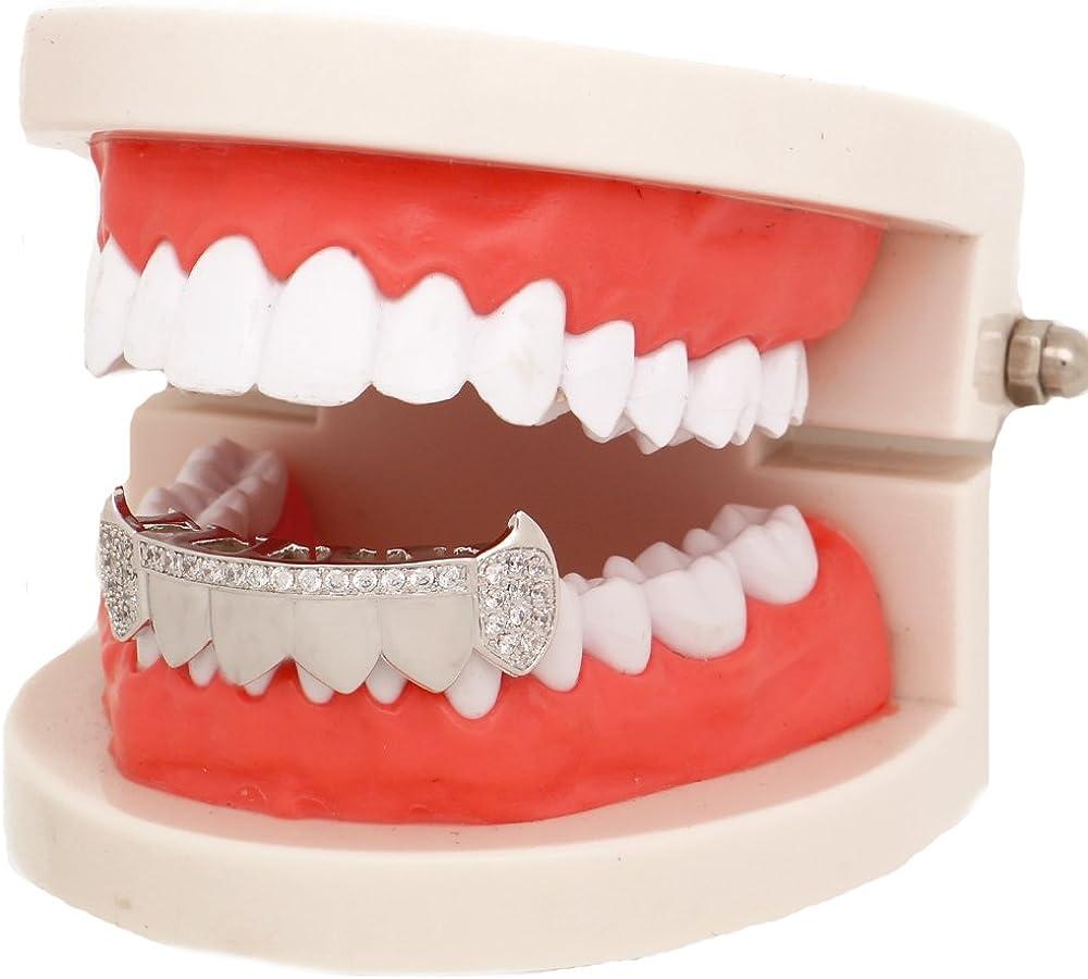 LuReen Gold Teeth Grillz Diamond Pave CZ 6 Top Bottom Grills for Men Women + Extra Molding Bars