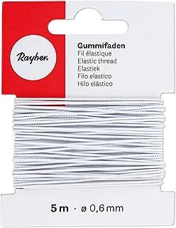 Rayher 8909002 Gummifaden, 0,6 mm ø, Karte 5 m, weiß, elastische Gummischnur zum Nähen von Behelfsmasken, für Armbänder usw.