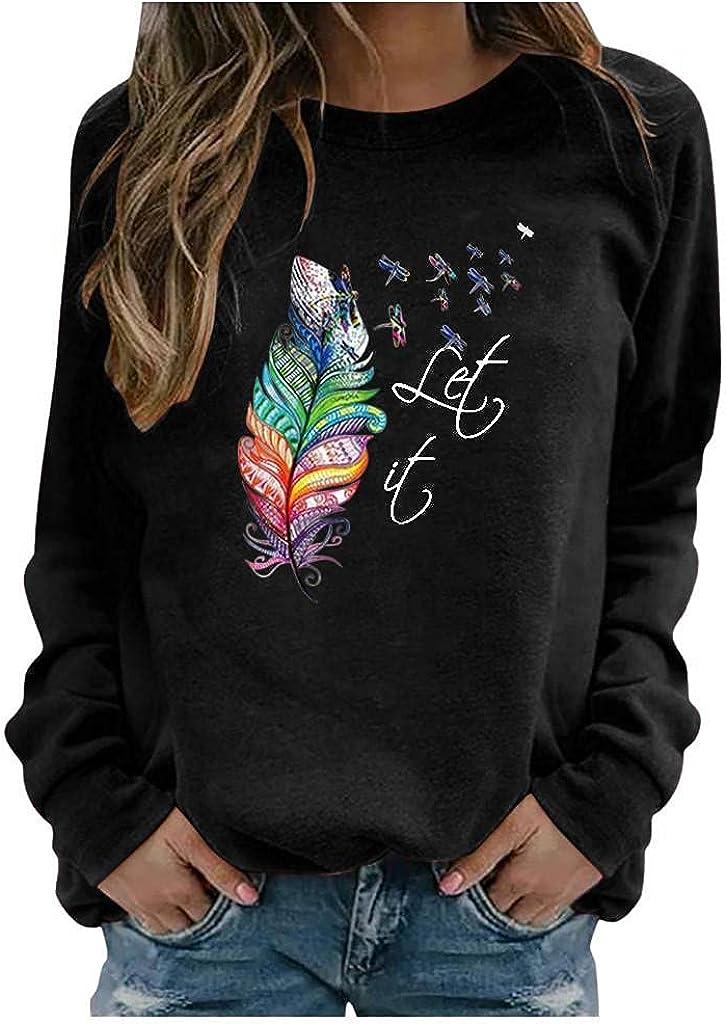 POLLYANNA KEONG Long Sleeve Shirt Women,Women Long Sleeve Sweatshirt Pullover Casual Vintage Graphic Basic Shirts
