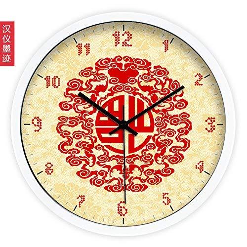 Wanduhr, große Wanduhren, Wanduhr Large.Creative Art Chinese Modern Festive Blessing Wohnzimmeruhr Uhr Wanduhr Stille Quarzuhr, 10 Zoll, Edelstahl weiß lackiert Grenze