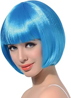 Light Blue Wathet Short Bob Cosplay Flapper Wig-Synthetic Costume Women's Natural Looking Party Bangs Wigs