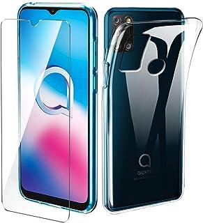 Varumärken LJSM fodral för Alcatel 3X 2020 + skärmskydd i härdat glas – transparent silikon mjukt TPU-skal för Alcatel 3X ...