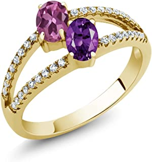 Gem Stone King 1.26 Ct Pink Tourmaline Amethyst 2 Stone 18K Yellow Gold Plated Silver Ring