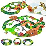 【265 pieces of value set】Vimzone dinosaur toy set have 265 accessories, including 240 tracks, 2 dinosaur cars with lights, 4 monkey pendants, 8 trees, 3 large dinosaurs, 2 arched hillsides, 2 A Y-shaped intersection, 2 dinosaur tunnel entrances, 1 br...