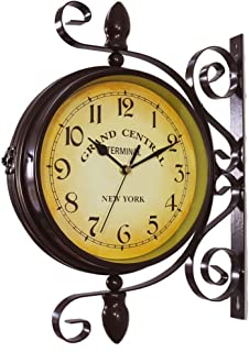 wooch Wrought Iron Antique-Look Brown Round Wall Hanging Double Sided Two Faces Retro Station Clock Round Chandelier Wall Hanging Clock with Scroll Wall Side Mount Home Décor Wall Clock 8-inch