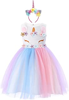 a4ed386ae059a IBTOM CASTLE Enfant Fille Déguisement Licorne Robe Florale Princesse Tutu  Jupe Canaval Costume de Photographie Cérémonie