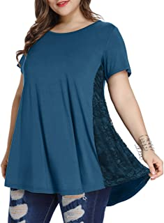 Women Lace Tunic Top Short Sleeve Flare T Shirt for Leggings