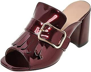 FANIMILA Women Chunky Heels Sandals Outdoor Fashion Slippers Peep Toe Slides Sandals