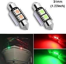31mm(1.22inch) Red and Green Marine Festoon LED Bulb Replacement for Starboard Light Port Light Navigation Light Bow Light for Fishing Pontoon Boat Sailboart Yacht Kayak Vessel DC12V(Pack of 2)