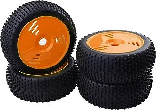 FLAMEER RC Ruedas Llanta Neumático Repuesto para 1:8 Nitro RC Buggy Truggy Camión - Naranja