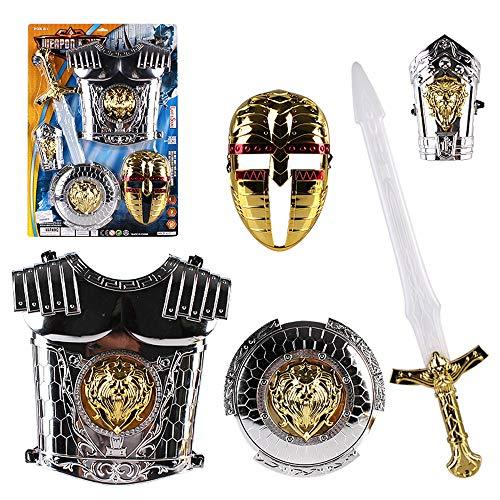 Lvbeis Traje de Armadura de Juguete para nios Casco Espada Escudo Armadura Jugar Carnaval de Halloween Fiesta de Navidad de Pascua Disfraz de Regalo,B