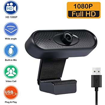 YINKUU 1080P Webcam USB3.0 Plug /& Play 1080P Camera with Auto Focus Rotatable and Built-in Sound-Absorbing Microphone for Live Class Conference