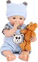 PURSUEBABY Real Life Reborn Baby Doll Boy with Blonde Hair Collectible Ferro 14 Inch Small Size Soft Body Reborn Toddler Doll Cuddle Snuggle Toy Gift Set for Children 3+