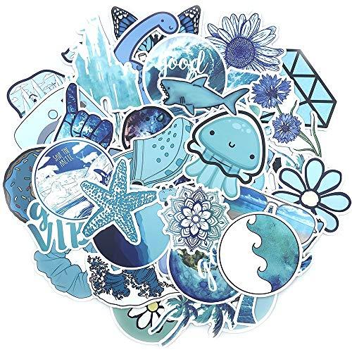 ZZHH 53 unids/Set Azul mar océano Equipaje monopatín Pegatina Coche Motocicleta Graffiti Pegatinas para álbum de Recortes