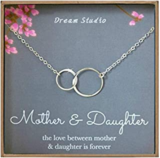 Mother Daughter Necklace - 925 Sterling Silver Two Interlocking Infinity Double Circles, Best Birthday Gift Ideas by Dream Studio