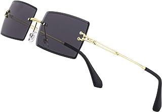 نظارات شمسية مستطيلة صغيرة أنيقة للنساء والرجال نظارات ملونة بدون إطار خفيفة للغاية لون حلوى المحيط نظارات شمسية