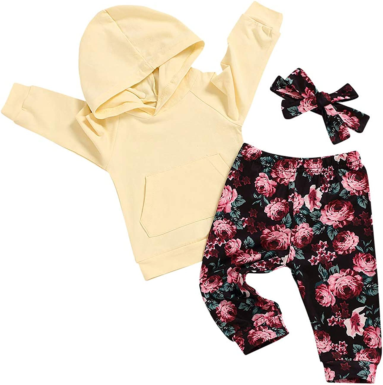 Baby Girl Clothes Infant Toddler Hoodie Sweatshirt Floral Pants Headband Fall Winter Outfits Set