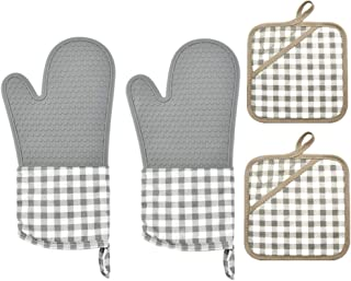 Voarge Rękawice kuchenne i zestaw 2 ścierek do garnków, silikonowe, długie rękawice do garnków, odporne na wysokie tempera...