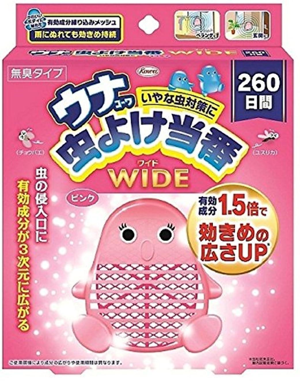 少ないミリメーター急勾配のウナコーワ 虫よけ当番 ワイド 260日間 ピンク 1個