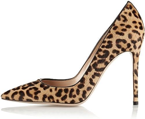 Kolnoo mujer Leopard Animal Print Pumps Puntiaguda High Heels Partido del Vestido Pumps