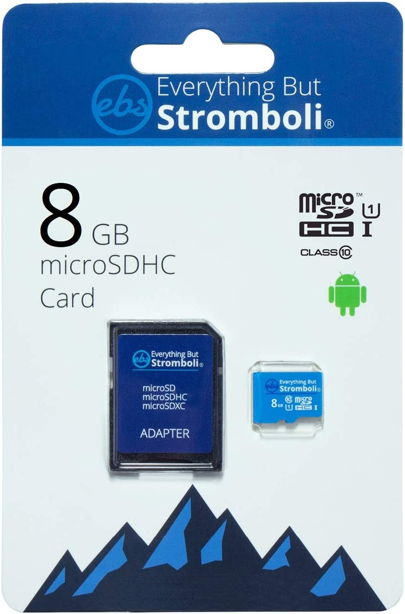 Everything But Stromboli 8GB MicroSD Memory Card for Kids Camera Class 10 U1 UHS-1 SDHC 8G Micro SD Card with Adapter