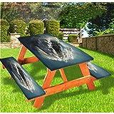 Planet Majestic Clouds - Mantel de mesa y banco de picnic con borde elástico, 28 x 172 pulgadas, juego de 3 piezas para camping, comedor, exterior, parque, patio